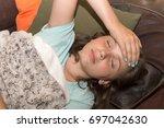 a young cute caucasian girl... | Shutterstock . vector #697042630