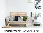 trendy living room decor with... | Shutterstock . vector #697043170