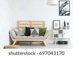 trendy living room decor with... | Shutterstock . vector #697043170