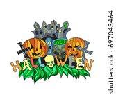 vector halloween illustration...   Shutterstock .eps vector #697043464