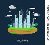 beautiful buildings in...   Shutterstock .eps vector #697045288