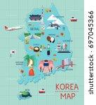 traveling to korea by landmrks...   Shutterstock .eps vector #697045366