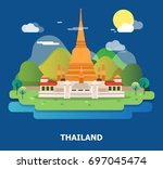 amazing holy temple in thailand ... | Shutterstock .eps vector #697045474