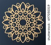 laser cutting mandala. golden... | Shutterstock .eps vector #697050319
