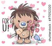 greeting card cute cartoon...   Shutterstock .eps vector #697052320