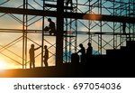silhouette of engineer and... | Shutterstock . vector #697054036