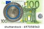 5 euro coins against 100 euro... | Shutterstock . vector #697058563