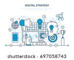 digital strategy concept.... | Shutterstock .eps vector #697058743