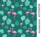 trendy flamingo background.... | Shutterstock .eps vector #697058938