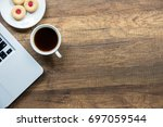 top view home office table with ... | Shutterstock . vector #697059544