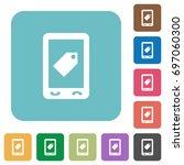 mobile label white flat icons... | Shutterstock .eps vector #697060300