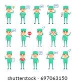 set of doctor characters... | Shutterstock .eps vector #697063150