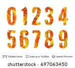 autumn fall bright numbers... | Shutterstock .eps vector #697063450