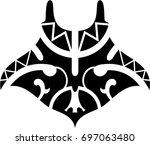 stingray in maori style   Shutterstock .eps vector #697063480