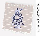 knight doodle | Shutterstock .eps vector #697065994