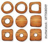 wood rings  circles and shapes... | Shutterstock .eps vector #697068049