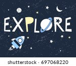 hand drawn space elements.... | Shutterstock .eps vector #697068220