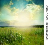 green meadow under blue sky... | Shutterstock . vector #69707050