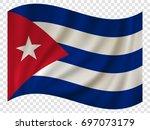 3d waving flag of cuba. vector... | Shutterstock .eps vector #697073179