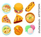 vector   dishes food dessert... | Shutterstock .eps vector #697073494
