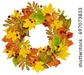 autumn wreath from dry colored... | Shutterstock . vector #697073833