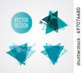 blue triangle retro shape.... | Shutterstock .eps vector #697076680