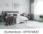 window with grey and white... | Shutterstock . vector #697076833
