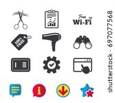 hotel services icons. wi fi ... | Shutterstock .eps vector #697077568