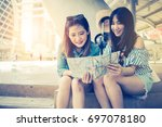 asian beautiful woman travel... | Shutterstock . vector #697078180