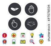 hand icons. handshake... | Shutterstock .eps vector #697078534