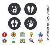 hand and foot print icons.... | Shutterstock .eps vector #697078834