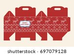 gift box pattern. template. box ... | Shutterstock .eps vector #697079128