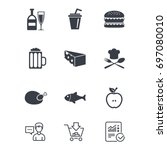 food  drink icons. beer  fish... | Shutterstock .eps vector #697080010