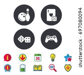 bowling and casino icons. video ... | Shutterstock .eps vector #697080094