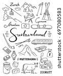 hand drawn switzerland...   Shutterstock .eps vector #697080583