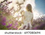 unrecognizable portrait. woman...   Shutterstock . vector #697080694