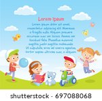 background with  happy kids... | Shutterstock .eps vector #697088068