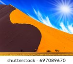 namibia  south africa  sunset.... | Shutterstock . vector #697089670