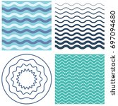 set wave pattern template and... | Shutterstock . vector #697094680