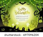a seamless happy halloween... | Shutterstock .eps vector #697096204
