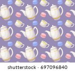 tea seamless pattern. colorful... | Shutterstock .eps vector #697096840