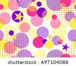 memphis seamless pattern. pop... | Shutterstock .eps vector #697104088
