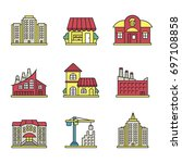 city buildings color icons set. ... | Shutterstock .eps vector #697108858