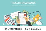 health care insurance concept.... | Shutterstock .eps vector #697111828