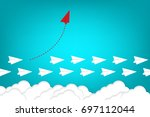 red airplane changing direction ... | Shutterstock .eps vector #697112044