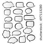 hand drawn set of vector speech ... | Shutterstock .eps vector #697113280
