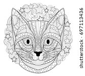 cat coloring page | Shutterstock .eps vector #697113436