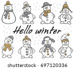 snowman set. winter christmas... | Shutterstock .eps vector #697120336