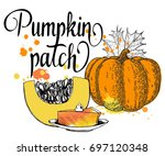 pumpkin patch. calligraphy card ... | Shutterstock .eps vector #697120348