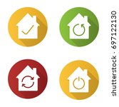 houses flat design long shadow...   Shutterstock .eps vector #697122130